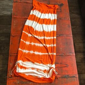 Orange & White Rip Curl Maxi Skirt